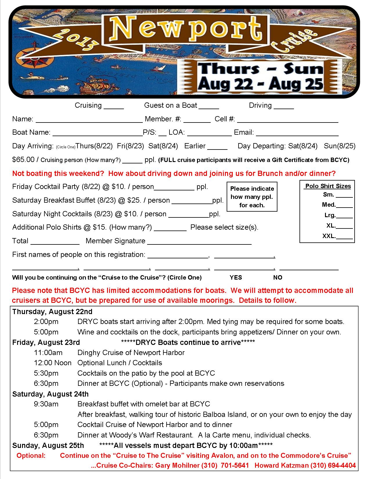 2013 Newport Cruise Registration Form
